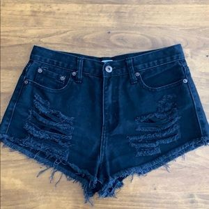 Black High-waisted Distressed Denim Shorts